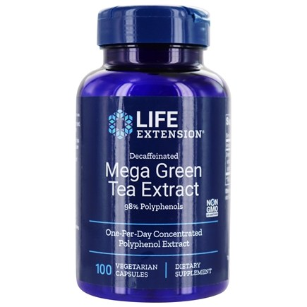 Life Extension - Decaffeinated Mega Green Tea Extract 98% Polyphenols - 100 Vegetarian Capsules