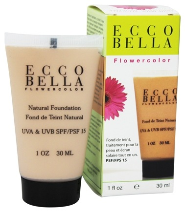 Ecco Bella - FlowerColor Natural Liquid Foundation Light Beige 15 SPF - 1 oz.
