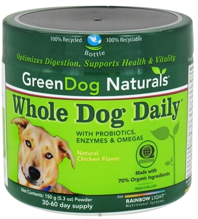 DROPPED: Green Dog Naturals - Whole Dog Daily 30-60 Day Supply Natural Chicken Flavor - 150 Grams CLEARANCE PRICED