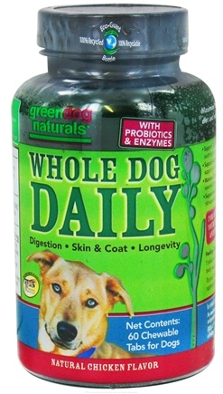 DROPPED: Green Dog Naturals - Whole Dog Daily Natural Chicken Flavor - 60 Chewable Tablets