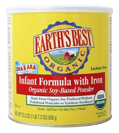 DROPPED: Earth's Best - Organic Soy Infant Formula with DHA & ARA - 25.75 oz. CLEARANCE PRICED