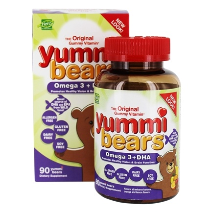 Hero Nutritionals Products - Yummi Bears Children's Omega 3 + DHA - 90 Gummies