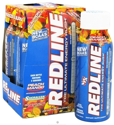 DROPPED: VPX - Redline RTD Energy Drink Rush 4 x 8oz. (4 pack) Peach Mango - CLEARANCE PRICED