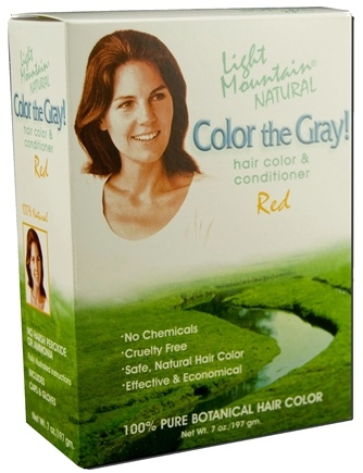 DROPPED: Light Mountain Natural - Color The Gray Hair Color & Conditioner Kit Red - 7 oz. CLEARANCE PRICED