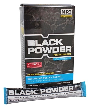 DROPPED: MRI: Medical Research Institute - Black Powder Pre Workout Bullet Pack Blue Raspberry - 20 x 15g Packets