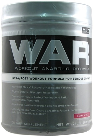 DROPPED: MRI: Medical Research Institute - WAR Workout Anabolic Recovery Berry Attack - 21 oz.