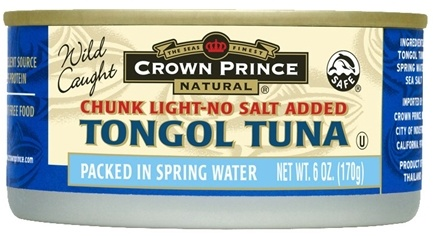 DROPPED: Crown Prince Natural - Chunk Light Natural Tongol Tuna No Salt Added - 6.125 oz. CLEARANCE PRICED