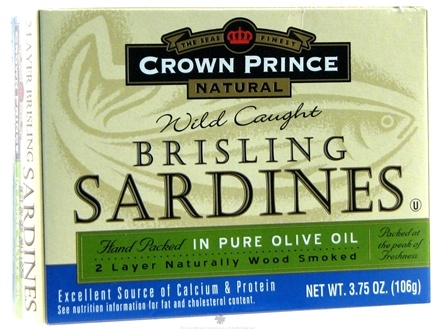 DROPPED: Crown Prince Natural - Brisling Sardines in Pure Olive Oil - 3.75 oz. CLEARANCE PRICED