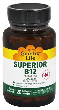Country Life - Superior B-12 Sublingual Berry Flavor 3000 mcg. - 120 Lozenges