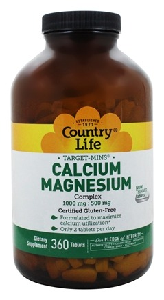 Country Life - Target-Mins Calcium-Magnesium Complex 1000 mg - 500 mg - 360 Tablets