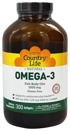 Country Life - Omega-3 Natural Fish Body Oils Providing EPA and DHA 1000 mg. - 300 Softgels