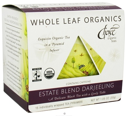 DROPPED: Choice Organic Teas - Whole Leaf Estate Blend Darjeeling Tea - 15 Tea Pyramid(s) CLEARANCE PRICED