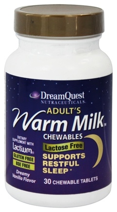 DROPPED: Dream Quest Nutraceuticals - Nutraceuticals Adult's Warm Milk Dreamy Vanilla Flavor - 30 Chewable Tablets