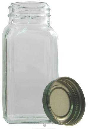 DROPPED: Frontier Natural Products - Clear Square Glass Jar With Green Metal Cap - 6.25 oz.