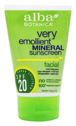 Alba Botanica - Very Emollient Mineral Protection Facial Sunblock Fragrance Free 20 SPF - 4 oz.