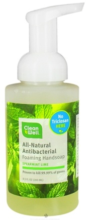 DROPPED: CleanWell - Natural Antibacterial Foaming Hand Wash Spearmint & Lime - 9.5 oz. CLEARANCE PRICED