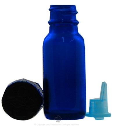 DROPPED: Frontier Natural Products - Cobalt Blue Glass Boston Round Bottle with Applicator Cap - 0.5 oz. CLEARANCE PRICED