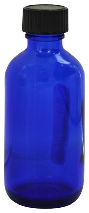 Frontier Natural Products - Cobalt Blue Glass Boston Round Bottle with Cap - 2 oz.