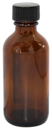 DROPPED: Frontier Natural Products - Amber Glass Round Bottle with Black Cap - 2 oz.