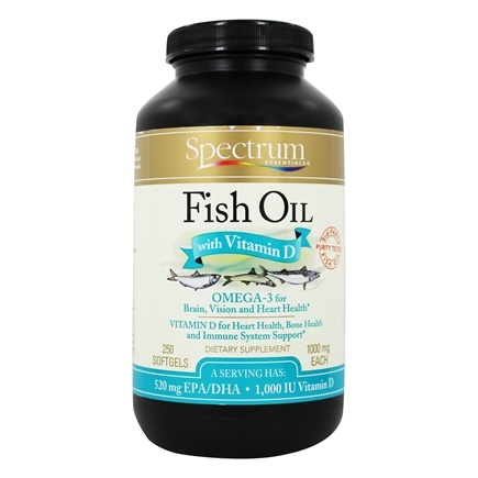 Spectrum Essentials - Fish Oil with Vitamin D 1000 mg. - 250 Softgels