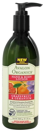 DROPPED: Avalon Organics - Hand & Body Lotion Grapefruit & Geranium - 12 oz.
