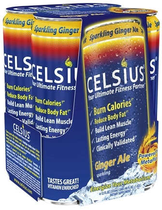DROPPED: Celsius - Celsius Your Ultimate Fitness Partner Sparkling Ginger Ale - 4 Pack(s) Formerly Original Calorie Burner - CLEARANCE PRICED