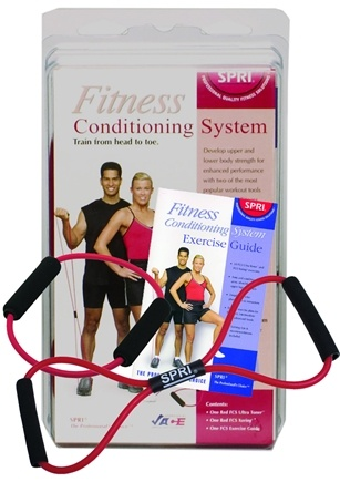 DROPPED: SPRI - Fitness Conditioning System with Exercise Guide Red- Medium Resistance - WINTER SPECIAL