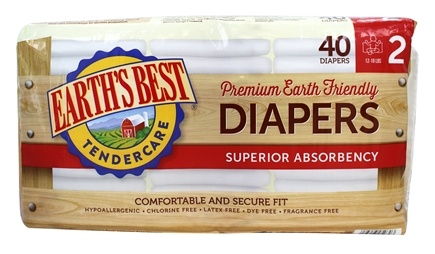 DROPPED: Earth's Best - TenderCare Chlorine Free Diapers Size Two 12-18 lbs. - 40 Diaper(s) CLEARANCE PRICED