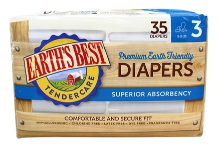 DROPPED: Earth's Best - TenderCare Chlorine Free Diapers Size Three 16-28 lbs. - 35 Diaper(s) CLEARANCE PRICED