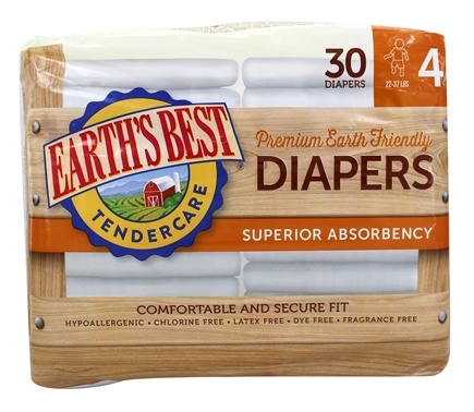 DROPPED: Earth's Best - TenderCare Chlorine Free Diapers Size Four 22-37 lbs. - 30 Diaper(s) CLEARANCE PRICED
