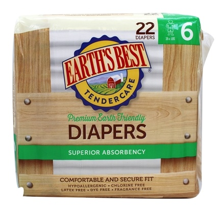 DROPPED: Earth's Best - TenderCare Chlorine Free Diapers Size Six 35+ lbs. - 22 Diaper(s)