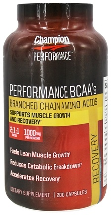 Champion Performance - Wellness Nutrition Performance BCAA's Branched Chain Amino Acids - 200 Capsules
