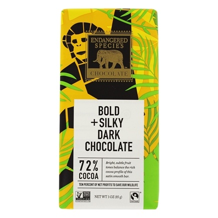 Endangered Species - Supreme Dark Chocolate Bar 72% Cocoa - 3 oz.