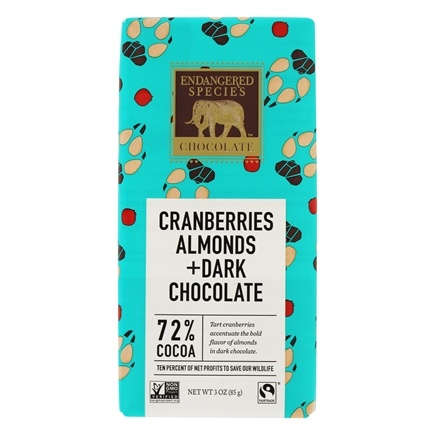 Endangered Species - Dark Chocolate Bar with Cranberries & Almonds 72% Cocoa - 3 oz.
