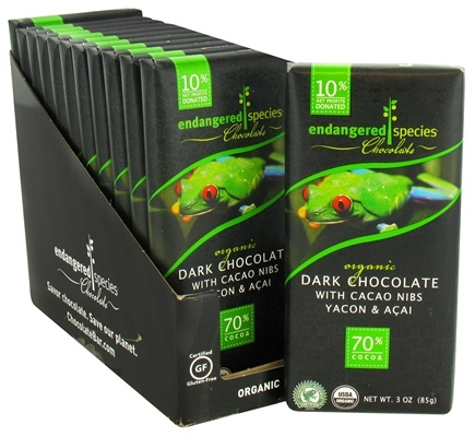 DROPPED: Endangered Species - Dark Chocolate Bar with Cacao Nibs, Yacon & Acai 70% Cocoa - 3 oz.