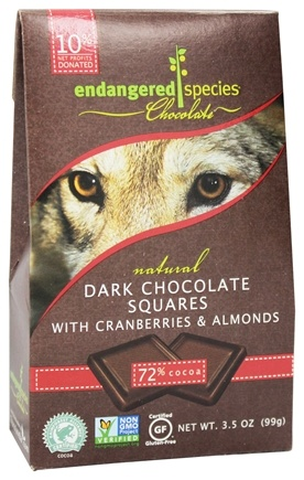 Endangered Species - Dark Chocolate Squares with Cranberries & Almonds Bite Size Bars 72% Cocoa - 10 Piece(s)