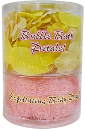 DROPPED: Organic Bath Company - Bubble Bath Petals With Exfoliating Body Puff Honey Chai Set - CLEARANCE PRICED