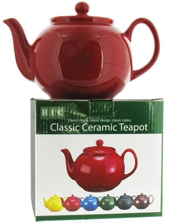DROPPED: Harold Import - Teapot 6 Cup Ceramic English Style Roses Red - 32 oz.