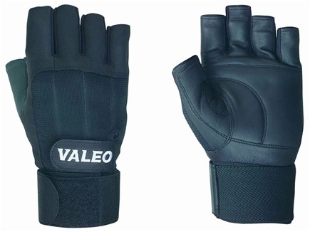 DROPPED: Valeo Inc. - Competition Wrist Wrap Lifting Gloves- Black- Large - 1 Pair CLEARANCE PRICED