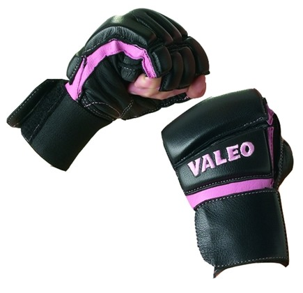 DROPPED: Valeo Inc. - Women's Leather Bag Gloves with Wrist Wrap- Black/Pink- Medium - 1 Pair