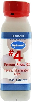 DROPPED: Hylands - Cell Salts #4 Ferrum Phosphoricum 6 X - 1000 Tablets CLEARANCE PRICED