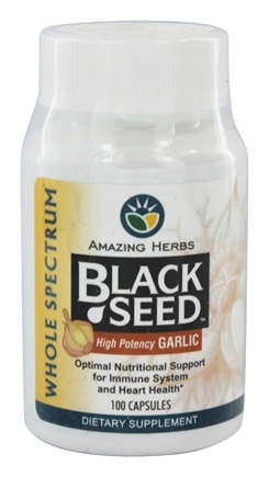 Amazing Herbs - Black Seed High Potency Garlic - 100 Capsules
