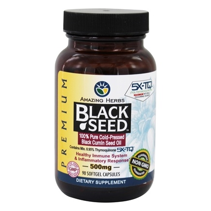 Amazing Herbs - Black Seed Pure Cold-Pressed Oil 500 mg. - 90 Softgels
