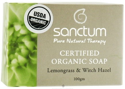 DROPPED: Sanctum - Certified Organic Bar Soap Lemongrass & Witch Hazel - 100 Grams CLEARANCE PRICED