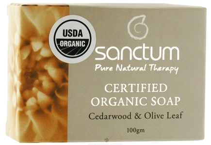DROPPED: Sanctum - Certified Organic Bar Soap Cedarwood & Olive Leaf - 100 Grams CLEARANCE PRICED