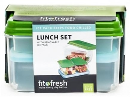 DROPPED: Fit & Fresh - Healthy Lunch On The Go Set with Removable Ice Packs - 17 Piece Set Green - CLEARANCED PRICED