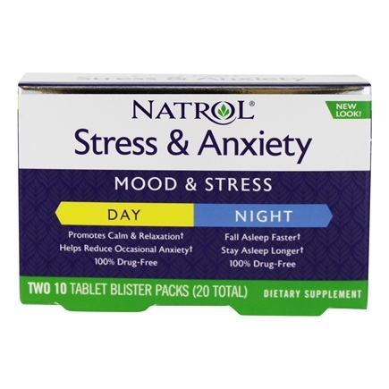 DROPPED: Natrol - Stress & Anxiety: DAY & NITE Formula 10+10 Tablets - CLEARANCE PRICED