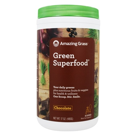 Amazing Grass - Green SuperFood Drink Powder 60 Servings Cacao Chocolate Infusion - 17 oz.