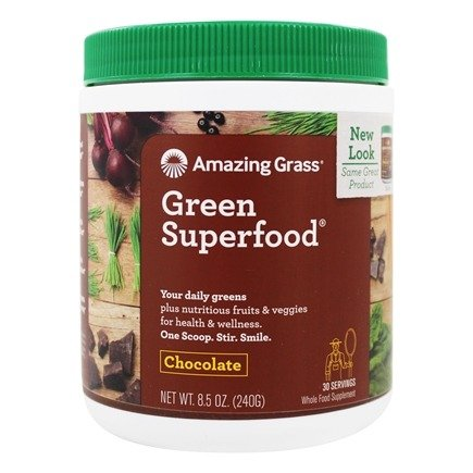 Amazing Grass - Green SuperFood Drink Powder 30 Servings Cacao Chocolate Infusion - 8.5 oz.
