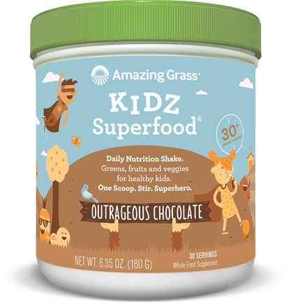 Amazing Grass - Kidz SuperFood Powder 30 Servings Outrageous Chocolate Flavor - 6.5 oz.